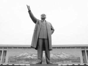 En staty av Nordkoreas president